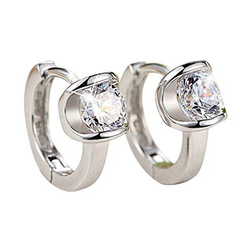 QTALKIE 8MM 925 Sterling Silver Crystal Small Huggie Hinged Hoop Earrings For ()