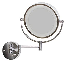 American Imaginations AI-557 8.5-in. W Round LED Mirror With Light Dimmer And Dual 1x/5x Zoom