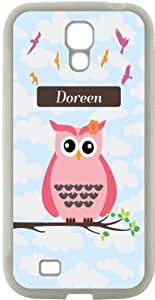 """Rikki KnightTM \""""Dori\"""" Name - Cute Pink Owl on Branch with Personalized Name Design Samsung\xae Galaxy S4 Case Cover (Black Hard Rubber TPU with Bumper Protection) for Samsung Galaxy S4"""