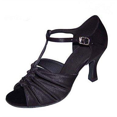 XIAMUO Anpassbare Damen Tanz Schuhe Satin Latin Jazz Swing Salsa Schuhe Sandalen angepasste HeelPractice Anfänger professionelle, Silber, Us8.5/EU39/UK6.5/CN 40