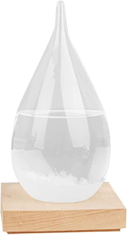USVSU Storm Glass Weather Station Crystal Weather Forecast Bottle Creative Desktop Decorations Weather Predictor Water Drops for Home and Office 2.4 x 4.8