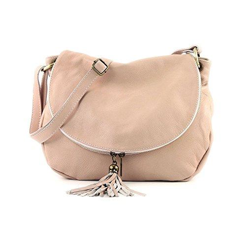 en à fabriqué rose Italie épaule portés compartiments deux cuir bandoulière OLGA sacs à fermeture Sac avec de clair glissière à vachette Twan5qxHgU