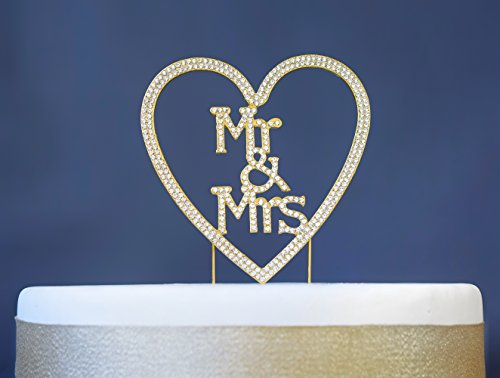 Crystal Heart Keepsake - Mr and Mrs GOLD Heart Cake Topper | Premium Sparkly Crystal Rhinestones | Wedding Anniversary Bridal Shower Bachelorette Party or Vow Renewal Decoration Ideas | Perfect Keepsake (Mr & Mrs Heart Gold)