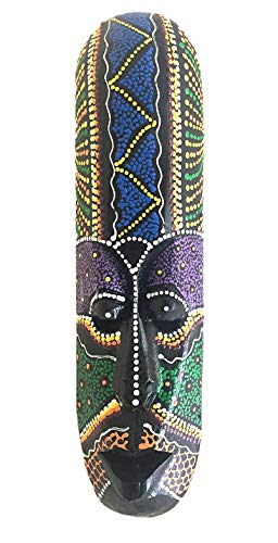 OMA African Mask Lucky in Love Aboriginal Style Hand Painted Wooden Mask Wall Hanging Decor