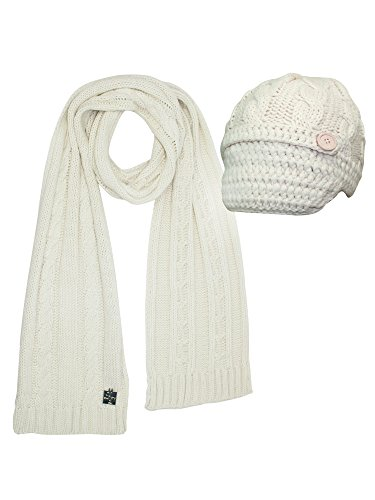 Ivory Cable Knit Newsboy Cabbie Hat & Scarf Matching ()