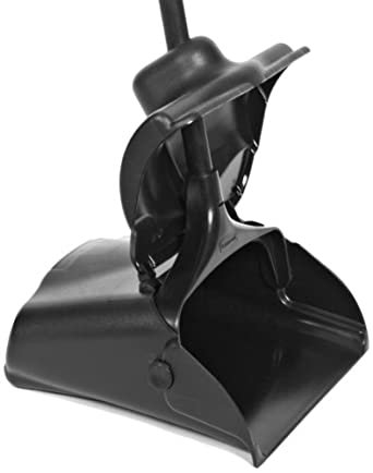 Rubbermaid Commercial FG253300 Lobby Pro Deluxe Upright Dust Pan with Cover and Adjustable Grip Handle, Black