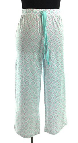 - Chart Club 100% Crop Pajama/Lounge Pants (Daisy Lattice, Large)