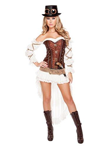 Roma Costume Women's 7 Piece Sexy Steampunk Babe, White/Brown, Small