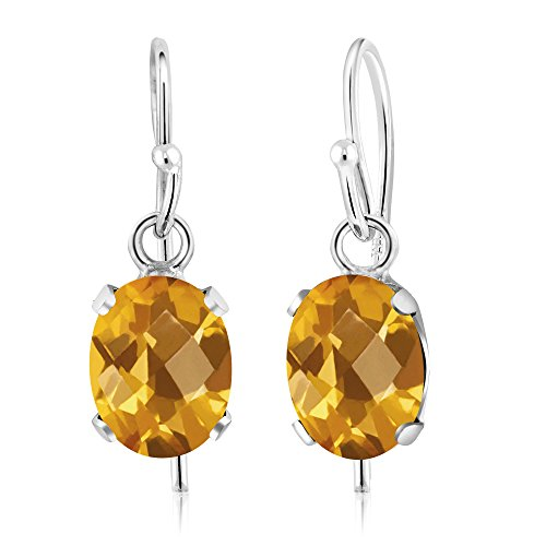 1.40 Ct Oval Checkerboard Yellow Citrine 925 Sterling Silver Gemstone Birthstone Earrings (7X5MM - Checkerboard Citrine Earrings