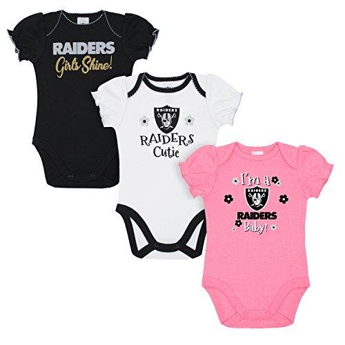 031aa2144 NFL Oakland Raiders Baby-Girls 3-Pack Short Sleeve Bodysuits