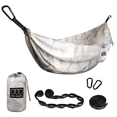 Pack Black Nylon Butt - Gold Armour Camping Hammock - XL Double Parachute Hammock (2 Tree Straps 16 LOOPS/10 FT Included) USA Brand Lightweight Nylon Portable Mens Womens Kids, Best Camping Accessories Gear (White Pattern)