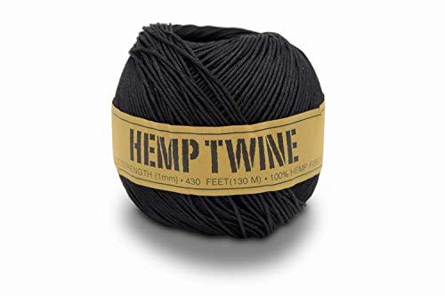 (100% Hemp Twine Ball 1MM, 100G/430 Ft. - 20 lb. Test Strength - Black)