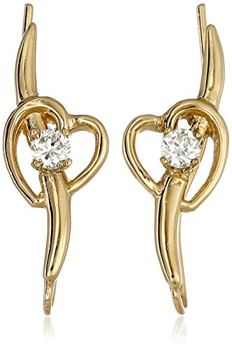 Gold Cubic Zirconia Ear Pins - The Ear Pin 18k Gold Over Silver Cubic Zirconia Shoot Heart Earrings