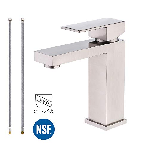 KES cUPC NSF Certified BRASS Lead-Free Brass Bathroom Sink Faucet Single Handle Lavatory Single Hole Vanity Sink Faucet Brushed Nickel, L3120A1LF-2