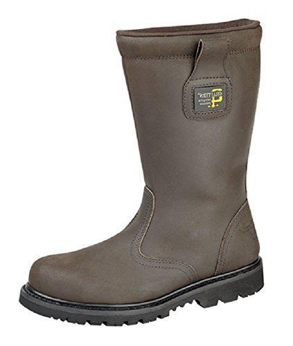 Grafters puntera de seguridad (forro de pelo botas Marrón - marrón