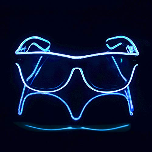 Blazing Fun El Wire Glow Glasses Led DJ Bright Light Safety Light Up Multicolor led Flashing Glasses with 4 Modes for Halloween Christmas Birthday Party