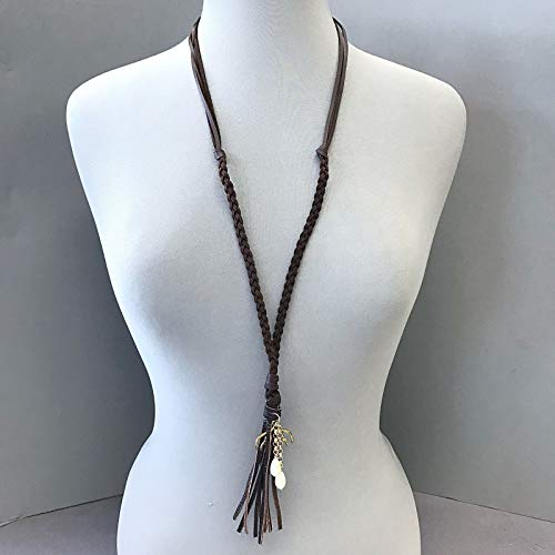 Boho Brown Genuine Leather Deer Antler Charm Pearl Beads Decor Tassel Necklace Set For Women