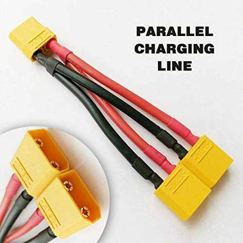 - XT90 Parallel Adapter Y Splitter 2 Male to 1 Female for Lipo Battery Wire 12AWG