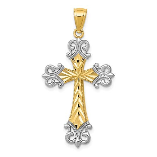 (14k Yellow Gold Diamonut Cross Religious Pendant Charm Necklace Fleur De Lis Fine Jewelry Gifts For Women For Her)