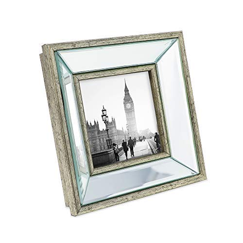 Isaac Jacobs 4x4 Silver Beveled Mirror Picture Frame - Classic Mirrored Frame with Deep Slanted Angle Made for Wall Décor Display, Photo Gallery and Wall Art (4x4, Silver) ()
