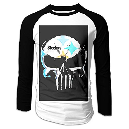 (UIQAWQ4 Skull Pittsburgh Steelers Men's Long Sleeve Fit Baseball T-Shirts Black)