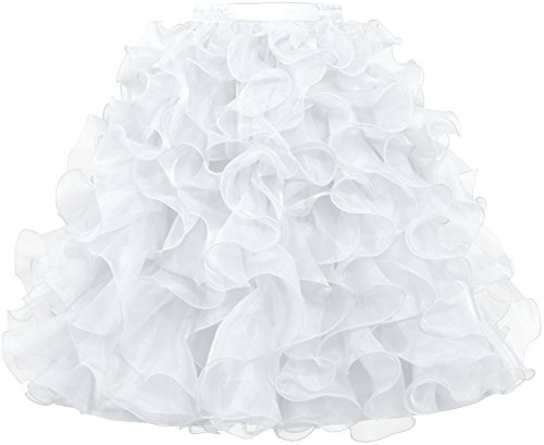 ANTS Women's 1950's Vintage Rockabilly Organza Ruffle Ball Gown Petticoat Skirt Size M US White (Organza Petticoat)