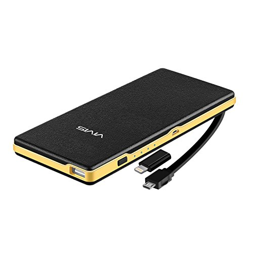 VIVIS 15000mAh Portable Built-in Micro usb cable and Lightning Connector Pure Co Li-Polymer Core External Battery Pack, Intelligent Charger, maximum 3A current 2 output ports, support phone holder for iPhone Samsung Galaxy HTC iPad and Tablets (black)