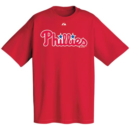 (Philadelphia Phillies Official Wordmark Short Sleeve T-Shirt, Athletic Red (X-Large))