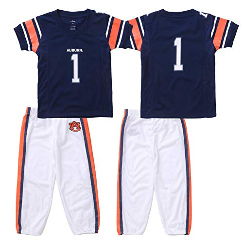 (FAST ASLEEP NCAA Auburn Tigers Boys Toddler/Junior Football Uniform Pajamas, Size 3T, Navy/White)