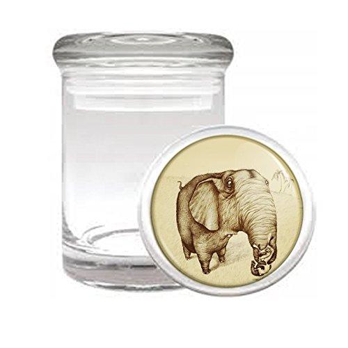 "Medical Glass Stash Jar Elephant Art Design S40 Air Tight Lid 3"" x 2"" Small Storage Herbs & Spices"