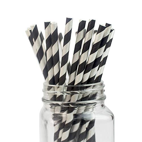 Black-silver Striped Paper Straws - Box of 100-7.75 inches, Biodegradable Paper Sticks for Party DIY, Birthday, Christmas, Thanksgiving, Holiday Party etc. (Black Silver Foil)
