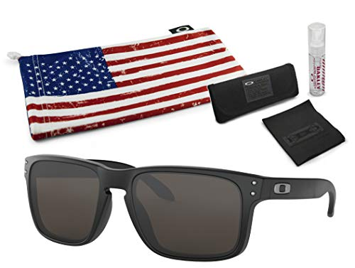 Oakley Holbrook Sunglasses (Matte Black Frame, Warm Grey Lens) with Lens Cleaning Kit and Country Flag Microbag (Oakley-warm Grey)
