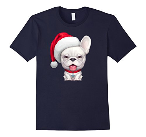Bull Outfit (Mens White French Bulldog Wearing a Santa Hat Christmas T-Shirt Medium Navy)