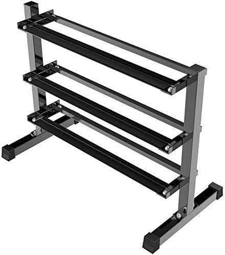 ダンベルラック、3層水平ダンベル収納ラック金属鋼ホームトレーニングジムダンベルウェイトラック黒六角ダンベル収納スタンド