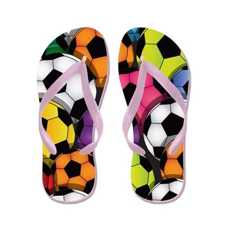 Lplpol Colorful Soccer Balls Flip Flops for Kids L with Pink Flip Flops Belt price tips cheap