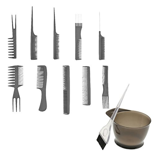 Dovewill Salon Hair Color Dye Bowl Comb Brush Set Tint Bleach Tool With 10 Hair Combs by Dovewill
