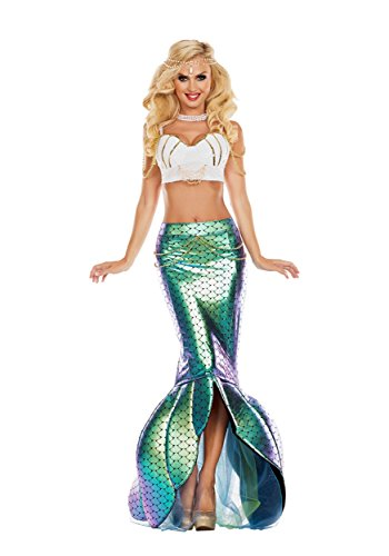 Party King Women's Under The Sea Mermaid Costume, Turquoise/White, Large