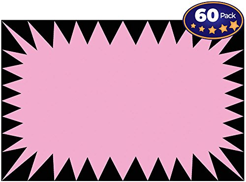 Retail Genius Price Burst 60 Pink Sign Pack. Boost Sales with Bright Display Tags. Durable, Easy to Write On Star Cards Are For Yard, Estate & Garage Sale, Fundraiser, Store, Business & Flea Market. ()