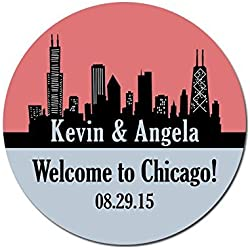 Personalized Customized Wedding Favor Stickers - Chicago Illinois Skyline - Out Of Town Guest Bags - Choose Your Size
