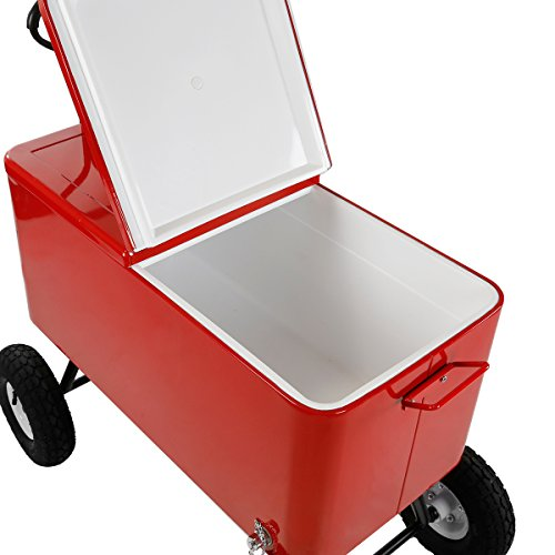 Clevr 80 Qt Party Wagon Cooler Rolling Cooler Ice Chest, Red, with Long Handle and 10'' All Terrain Wheels, Portable Patio Party Bar Cold Drink Beverage Chest, Outdoor Cooler Cart on Wheels by Clevr (Image #6)