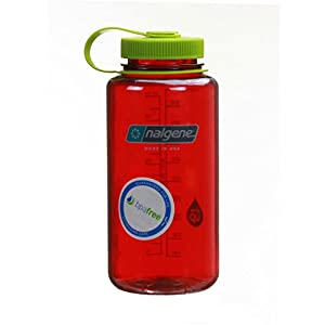 Nalgene Wide Mouth Bottle (Outdoor Red w/ Green Lid, 1 QT)