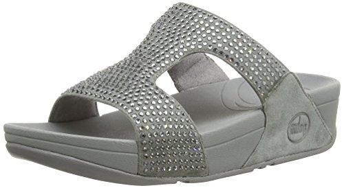 FitFlop Women's Rokkit Slide Dress Sandal, Silver Nova, 9 M US by FitFlop