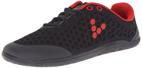 Vivobarefoot Women's Stealth 2 Walk Shoe, Black/Red, 38 EU/7.5-8 M US