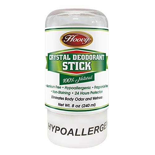 Natural Crystal Deodorant Stick (4.25 oz) – Unscented Antiperspirant Deodorizing Stick, Underarm & Foot 24 Hour Protection – Hypoallergenic Non-Staining Body Deodorizer For Men, Women, Kids (1 Pack)