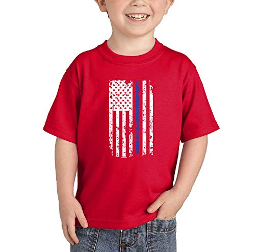 (Blue Line American Flag - Support Police Infant/Toddler Cotton Jersey T-Shirt (Red, 24 Months))