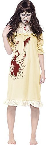 Fancy Me Women's Zombie Possessed Demon Exorcist Halloween Fancy Dres Costume 8-10 Yellow