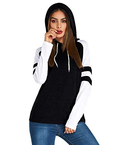 - SUNNYME Womens Baseball Tee Long Sleeve Raglan Shirt Crew Neck Striped Tunics Casual Blouses Tops X-Black S