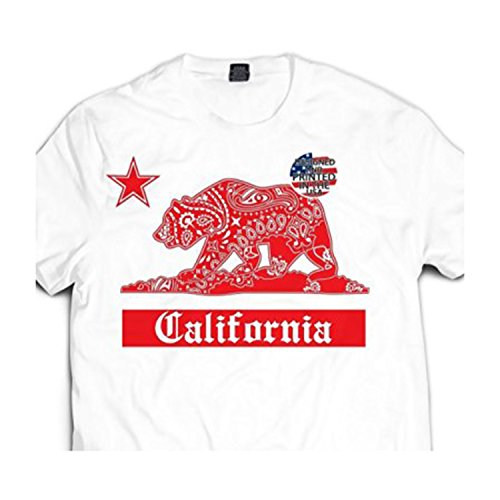 Men's White / Red California Bandana Bear Paisley Cali T shirt Urban wear CA (S - Small Mens)