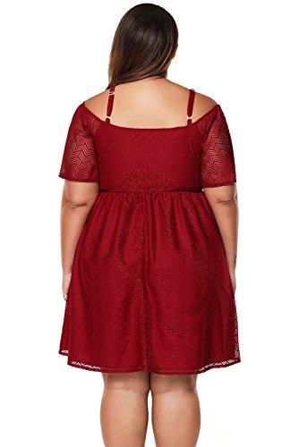 Baronhong Épaule Froide Mousseline Texture, Plus Patineur Taille Robe De Cou V Rouge