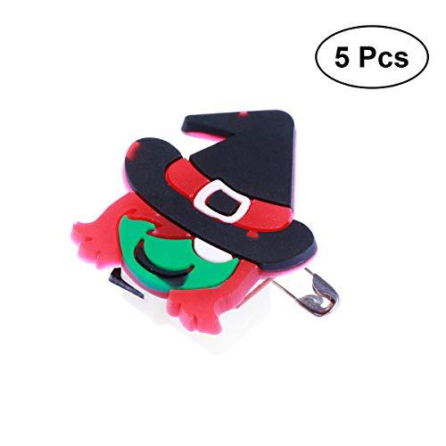 AMOSFUN 5PCS Halloween Flashing Brooch Pins LED Brooch Kids Party Supplies Flashing Light Brooch (Witch)